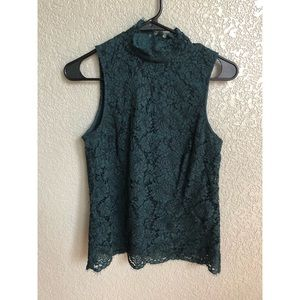 Emerald Green Lace Sleeveless Top